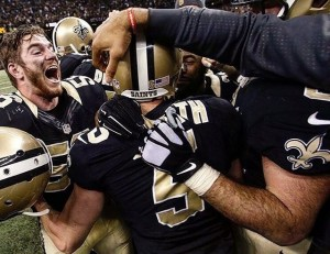 Kai Forbath celebrating after his 50 yard game winning field goal for the Saints. (2015)